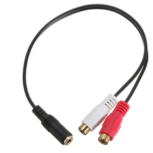 3.5mm Stereo Female Jack to 2 RCA Female Jack Audio Adapter Y Splitter Cable Gold Plated