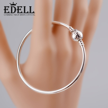EDELL Fashion Love Snake Chain Silver Color Fit Original Charm Bracelet Bangle Charm Bead For Women Gift Free Package Mail(China)