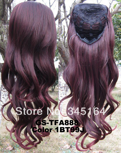 New  3/4 Half Wig Heat Resistant Synthetic Wig Hair 200g 24 Highlighted Wavy Wig Hairpieces with Comb 1BT99J Wine red  Wig Hair<br><br>Aliexpress