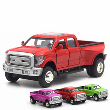 NEW High Simulation Exquisite Diecast Toy Vehicles Pull Back Car Styling Raptor Pickup Trucks 1:32 Light Music Alloy Model Gift
