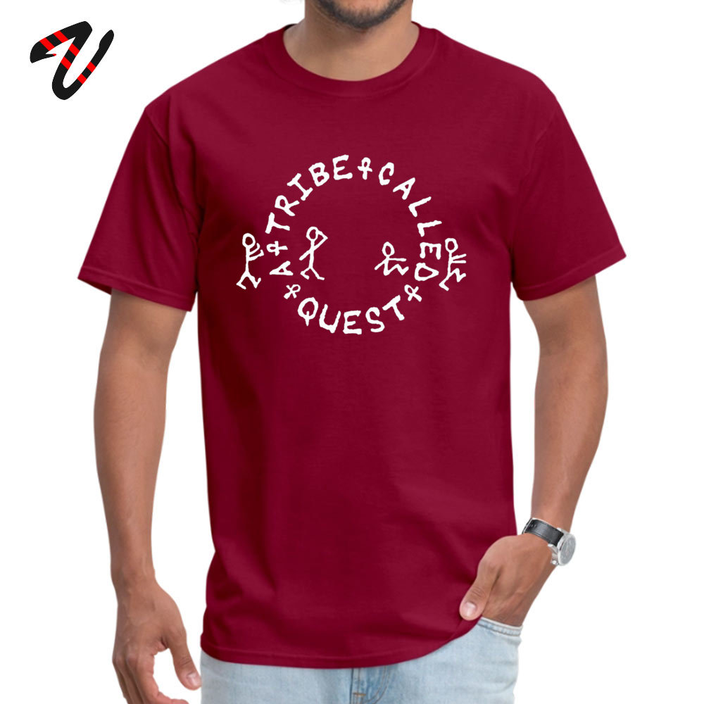 tribe called All Cotton Men Short Sleeve Tops Tees Summer Summer Fall T-shirts Gift Tee Shirt Slim Fit Round Neck tribe called-13027 maroon