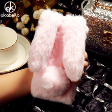 AKABEILA Rabbit Fur Mobile Phone Case For BQ Strike BQS-5020 BQ BQS Strike S5020 5020 BQS5020 5.0 INCH Soft TPU Silicone Covers(China)