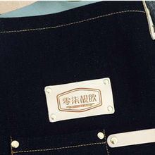 Customized Logo Printing Service of Genuine Leather Card on Denim/Canvas Aprons for Salon Cafe Catering Bistro Bar Barbershop(China)