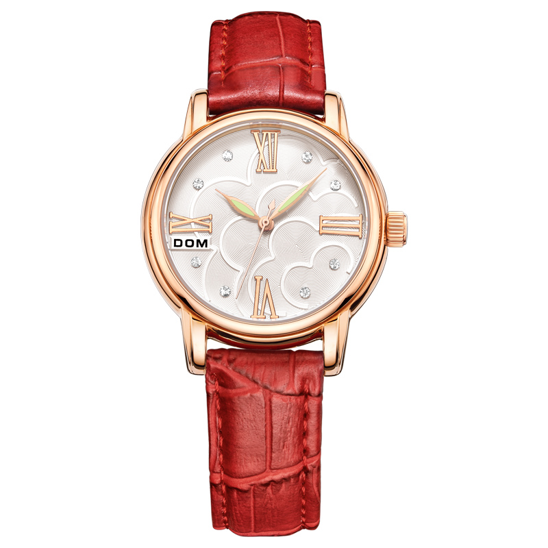 DOM Brand Women's Watches Square Leather reloj mujer Luxury waterproof Ladies Watch Quartz Rose Gold Watch Montre Femme G-1028