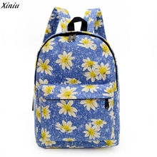 Women Daisy Printing Canvas Backpack School Bag Printing School Backpacks Shoulder Bags famous designer brand backpack for girls(China)
