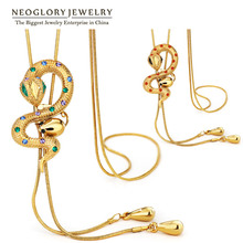 Neoglory Austrain Rhinestone Light Yellow Gold Color Adjustable Chain Long Necklaces for Women Snake Fashion Jewelry 2017 New