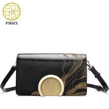 Pmsix 2017 primavera verano flor en relieve de cuero bolso pequeño bolso crossbody de las mujeres de moda classic flap bag p220040