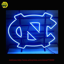 2017 Hot Neon Sign NORTH CAROLINA TAR HEELS Glass Tube Handcrafted Recreation Room Iconic Sign Affiche Neon Window Lights 17x14(China)
