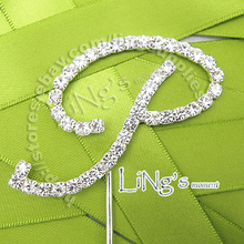"Handmade Silver Rhinestone Letters Cake Topper  for Wedding Celebration Party Decoration 10cm (4"") Height"