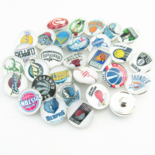 150pcs/lot(Each team 5) Mix NBA 30 Team Fashion Basketball Sports Snap Button Charms for DIY 18mm Snap Bracelet Jewelry