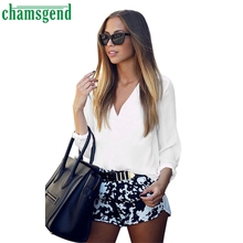 CHAMSGEND Good Deal New Fashion Womens Loose V Neck T Shirt Ladies Long Sleeve Polyester Tops Shirt   1 pc_U00442