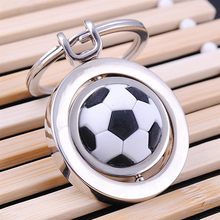 (12 pieces/lot)3D Rotation Football Metal Keychain Golf Basketball Car Key Chain Key Ring For Man Women Birthday Gift Wholesale