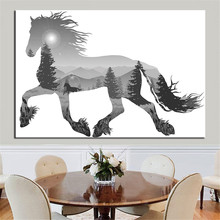 Unframed Abstract Animal Painting Canvas Painting Wall Art Horse Lion Zebra Animal for Kids Room Poster and Print Home Decor(China)