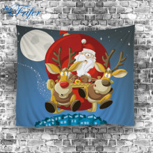 150*130cm Cartoon Christmas Tapestry Polyester Wall Hanging Tapestries Elk Santa Xmas Bell Printed Beach Towel New Year Decor(China)