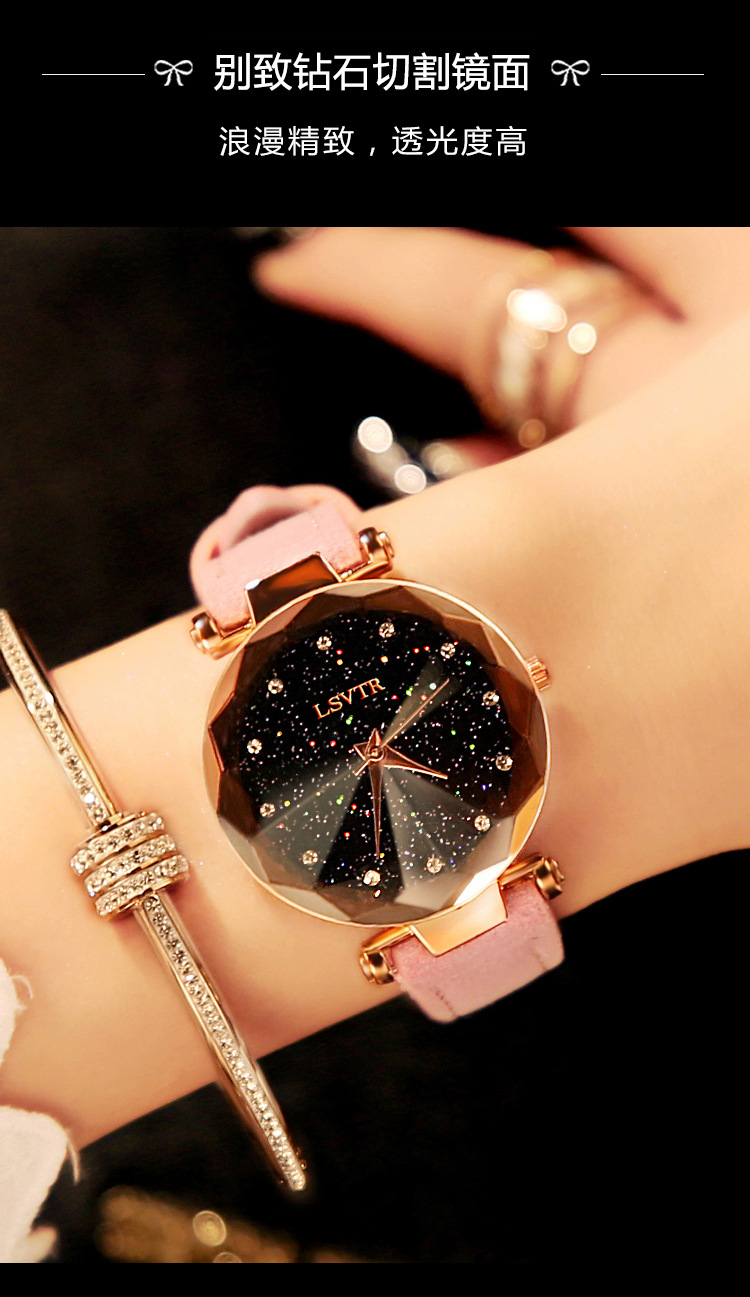 18 Luxury Brand Gogoey Women Watches Personality romantic starry sky Wrist Watch Leather Rhinestone Designer Ladies Red Clock 10