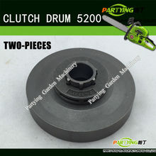 FREE SHIPPING #5200 #5800 #4500Gasoline Chain Saw Accessories TWO-PIECE FORGE CLUTCH DRUM  IRON PARTS 2PCS/BAG PTCD-08