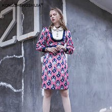 autumn winter women clothing check printed peter pan collar high street brand runway women straight dresses(China)