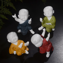 Porcelain Kung Fu Kid Figurines Doll Car Decoration Ornaments Automobile Interior Dashboard Decor Home Furnishing Accessories(China)