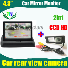 2in1 4.3inch car monitor mirror + 2 in 1 Auto parking System car rear view backup camera for Renault fluence Duster HD CCD