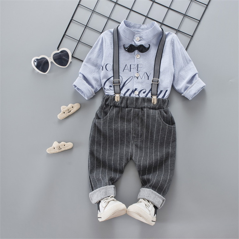 2018 Autumn Fashion Baby Boys Clothes Cotton Stars Printed Blouse Plaid Overall Pants Gentleman Clothing Set for Baby Kids B018