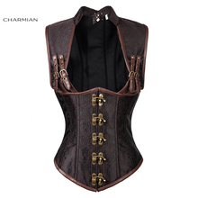 Charmian Women's Gothic Steampunk Corset Vest Brown Steel Boned Vintage Sexy Underbust Corsets and Bustiers Shapewear Corselet(China)