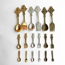 6pc Mini Metal Spoon Fork Tableware Vintage Dinnerware Sets Miniature Dollhouse Decoration Fairy Home Decor DIY Accessories
