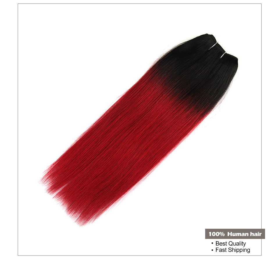 Hair Villa Remy Straight Brazilian Hair Bundles 1B/Burg Colored Human Hair Weave For Salon Low Ratio Longest Hair PCT 15%