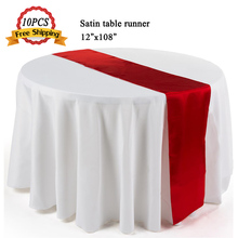 "Free Shipping 10PCS New Satin Table Runner Flag 12""x108"" Wedding Banquet Home Hotel Decoration Modern Silk Table Runner 30x275cm(China)"
