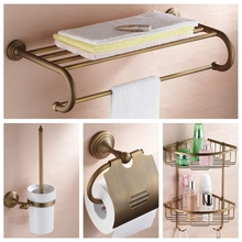 Bath Hardware Sets Nickel Brushed Brass bathroom accessories set robe hook cup brush holder towel holders soap dish paper rack(China)