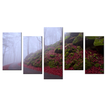 5 Piece Canvas Autumn Foggy Forest With Meandering Path Wall Mutal Home Decor For Living Room Giclee Landscape Painting Prints