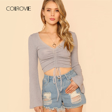 Buy COLROVIE Grey V Neck Slim Bell Sleeve Drawstring T-Shirt 2018 Summer Stretchy Shirt Crop Top Tee Solid Causal Women Clothing for $8.99 in AliExpress store