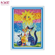 NKF 14CT 11CT Counted and Stamped Cats Under The Sun Cross Stitch For Home Decoration K990(2)