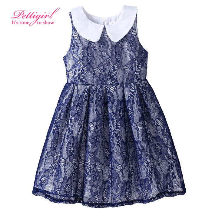 Fashionable Dresses Retail Puff Sleeve Kids Lace Dress Navy Blue Bbay Girl Clothes <br><br>Aliexpress
