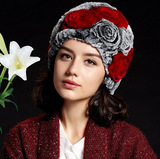 2017 new top Genuine Rabbit Fur Hat rose Striped Rabbit Fur Hat Winter Fur Hat Knitting Rabbit Skullies Beanies Women HatsОдежда и ак�е��уары<br><br><br>Aliexpress