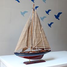 Quality Wood Sports Sailing Boat Model Art Craft Embellishment Furnishing Accessories for Commercial Gift and Office Decoration