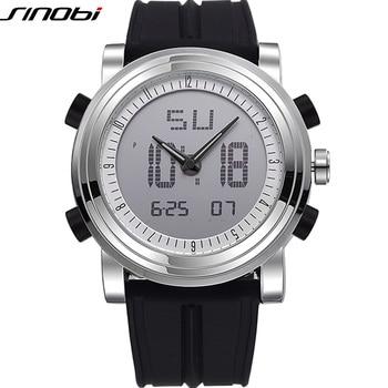 Sinobi esportes digitais dos homens do cronógrafo relógios de pulso à prova d' água pulseira de borracha marca genebra relógio de quartzo militares do sexo masculino 2017