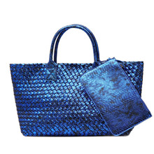 Joyir Latest Fashion Snakeskin Woven Big Totes Bag Women Handbags High Quality Faux Leather Large Bag Ladies Shouder Bags Purse(China)