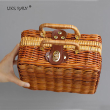 LIKE RAIN 2017 New Women Handbags Designer Handwork Bamboo Storage Box Handbag Women Travel Tote Cane Beach Bags STB03