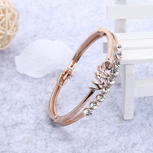 Jocestyle Trendy Rose Gold Color Flower Stone Peral Leaf Wife Bracelets Bangle Cuff for Women Chic Jewely Accessory