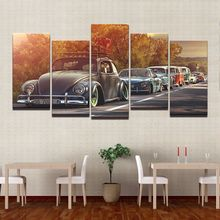 Modern Home Wall Art Decor Frame Pictures HD Prints 5 Pieces Volkswagen Beetle Car Painting On Canvas Retro Sunset Poster PENGDA(China)