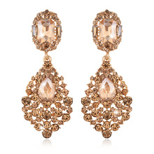Hot Sale Fashion Exquisite Gold Long Chandelier Earrings for Women Wedding, Great Water Drop Bridal Earring with Crystal E050