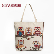 Buy Miyahouse Single Shopping Bag Canvas Shoulder Bag Lady Large Capacity Casual Tote Bags Women Owl Printed Canvas Handbag Female for $6.99 in AliExpress store