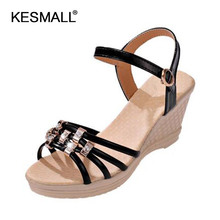 Freeshipping shoes women Manufacturers selling the new summer leisure fashion strip multicolor fish mouth wedge women sandals(China)