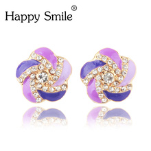 Vibrant Girl Ear Clip Jewelry Assorted Colors Round Shape Flower Design Sweet For Women