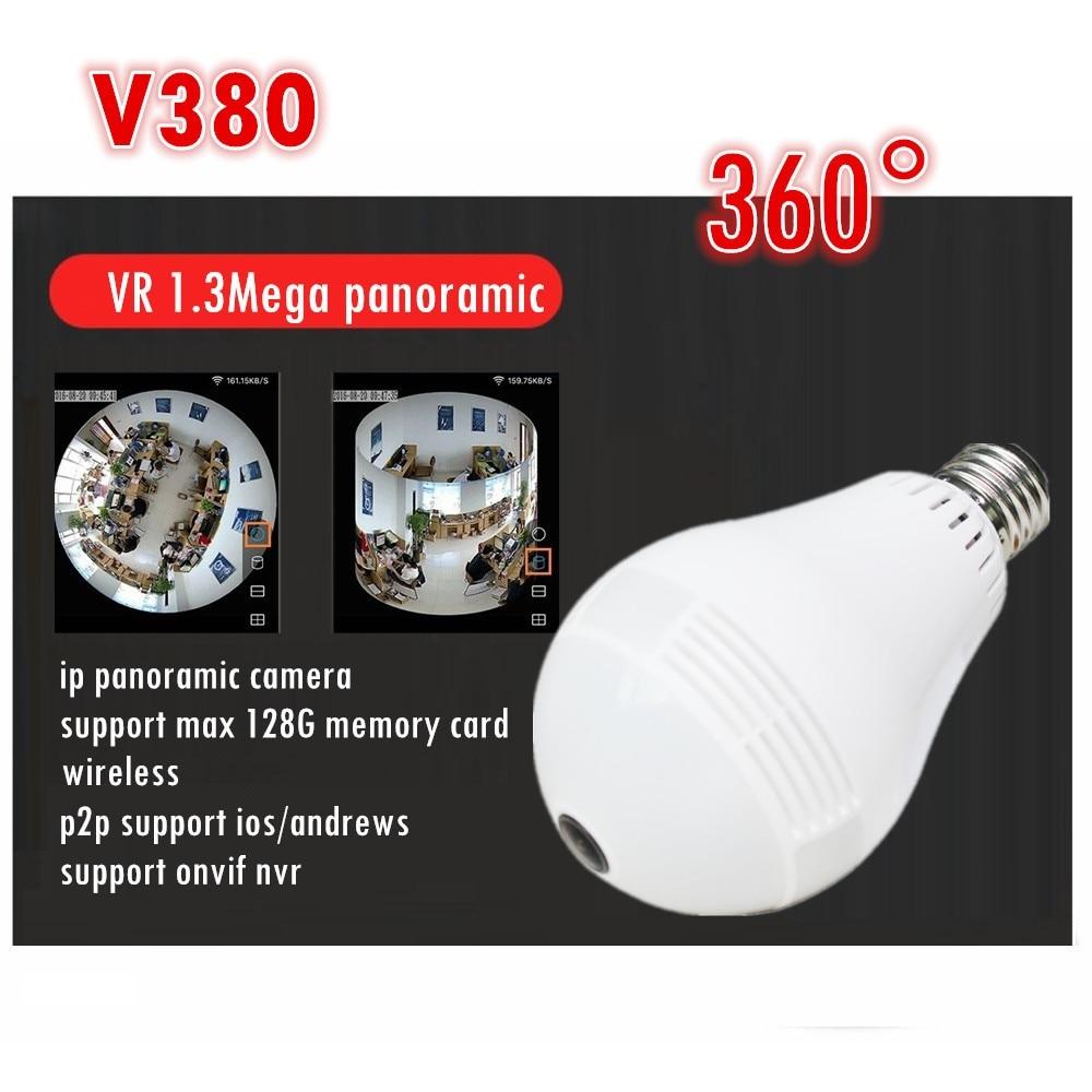 ip Fisheye camera v380 software VR 360 degree wireless Panoramic light  Camera network light bulb support max 128G memory card<br>