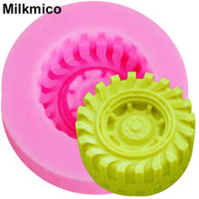 Milkmico M652 1PCS Hot Round Tire shape Silicone Mold Fondant Cake Decorating Tools 3D Car wheels Chocolate Molds handmade soap