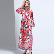 Luxury Ladies Dress 2017 New Hot Sale Long Flare Sleeve Fashion Beautiful Print Loose Autumn Winter Mid-Calf Topshop Dress