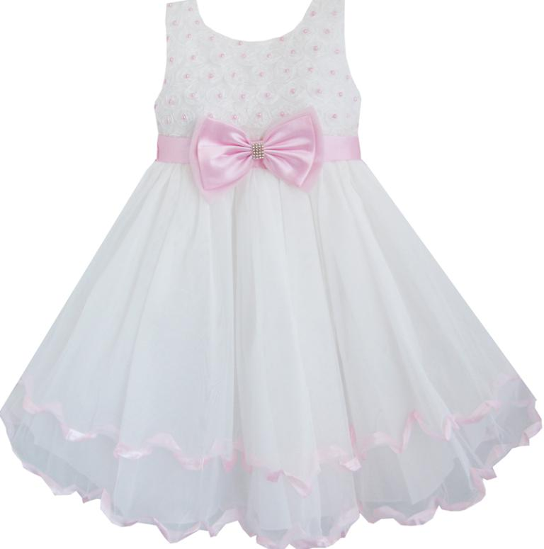 Sunny Fashion Flower Girl Dress White Pearl Rose Bow Tie Wedding Pageant Layers Kids Clothes 2017 Summer Princess Size 2-10<br><br>Aliexpress