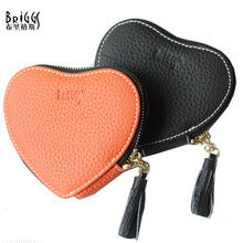 BRIGGS Brand Genuine Leather Coin Purse Leather Zipper Coin Pouch Tassel Women Coin Wallet Fashion Heart Shaped Mini Purse(China)