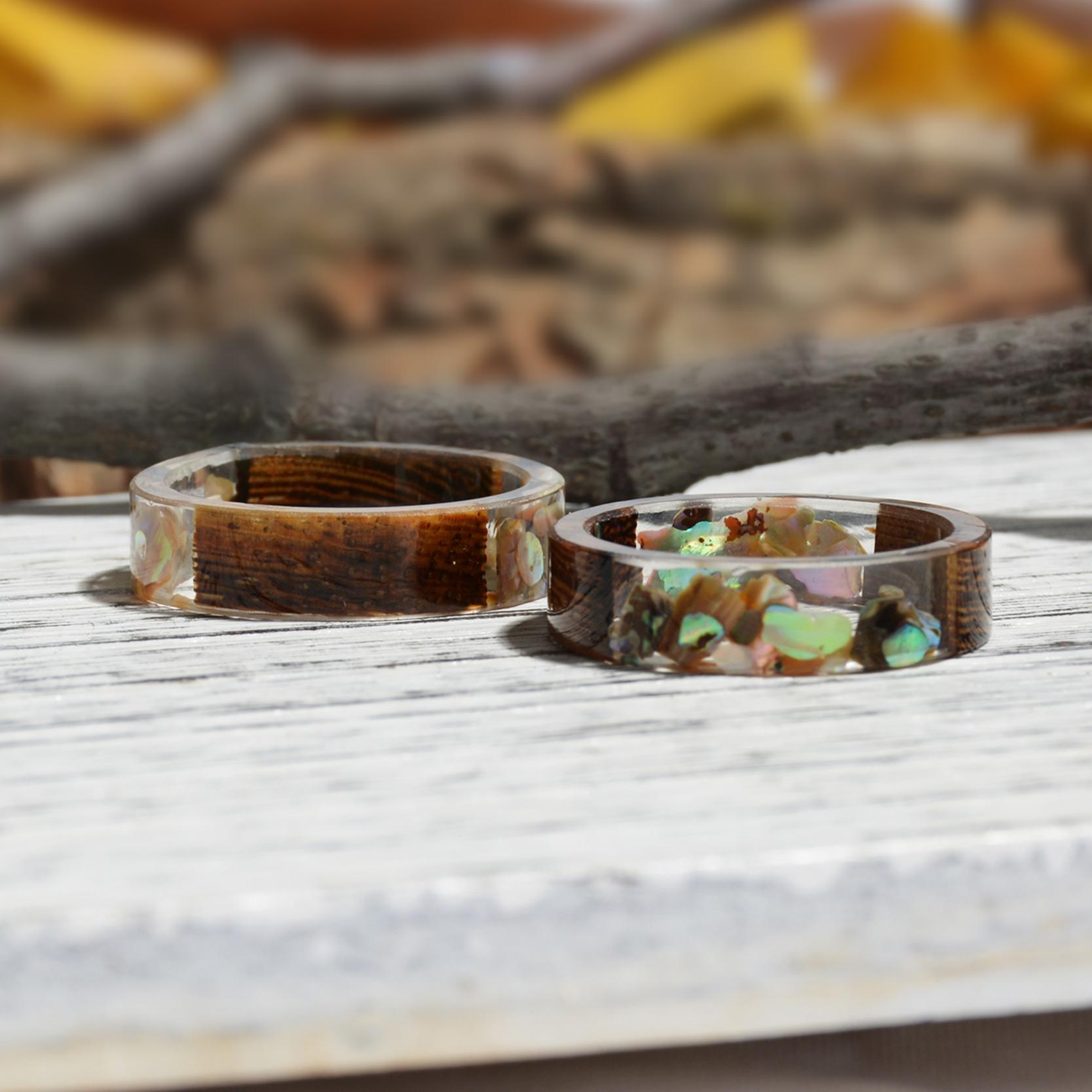 Clear Wood Resin Ring Handmade Dried Flower Hand Jewellery 22